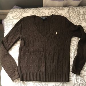 Ralph Lauren Sport Brown V-Neck Sweater M